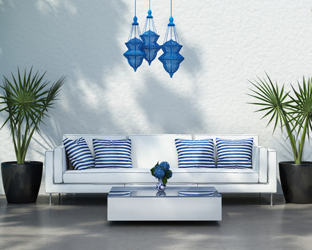decoraton: Contemporary elegant summer outdoor white sofa Stock Photo