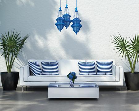 Eigentijdse elegante zomer buiten witte sofa