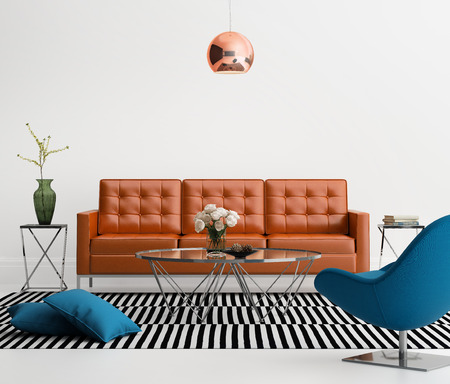 designer chair: Contemporary living room with orange leather sofa Stock Photo