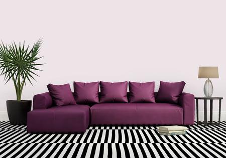 Elegant contemporary fresh interior with purple sofa Stock Photo