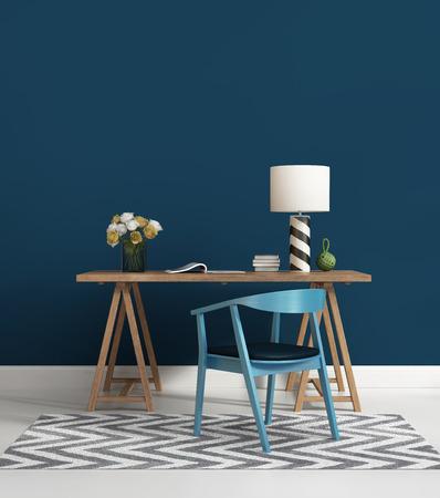 現代的な青のホーム オフィス
