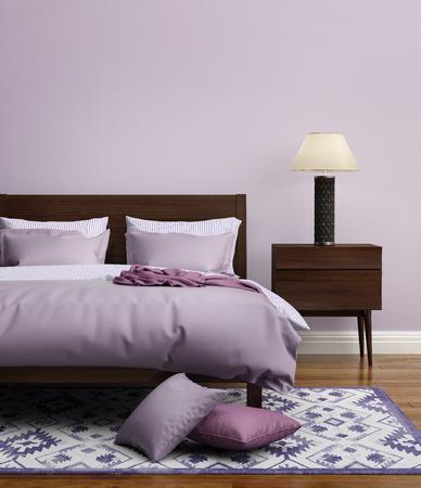當代優雅的淺紫色奢華的臥室