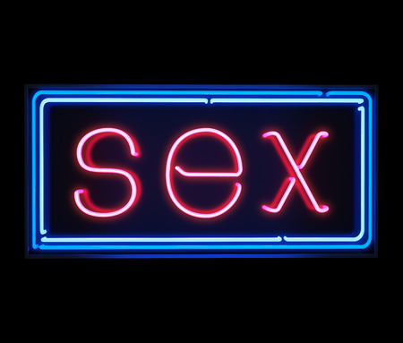 Sex neon sign illuminated over dark background Stock Photo