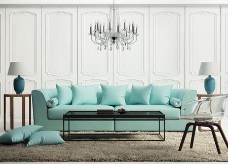 Lichtgroen elegante barokke woonkamer Stockfoto