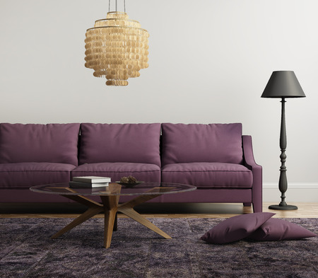 red sofa: Light purple elegant stylish living room