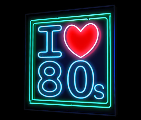 music poster: I love the 80s neon isolated Stock Photo