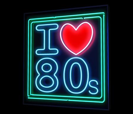 Ik hou van de jaren '80 neon geïsoleerd