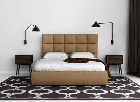 contemporary bedroom: Contemporary elegant luxury bedroom with leather bed Stock Photo