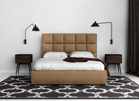 Contemporary elegant luxury bedroom with leather bed Archivio Fotografico