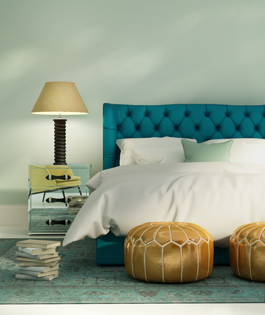 hotel: Contemporary green luxury bedroom with leather bed and patterned rug