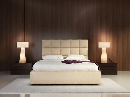 Luxury elegant bedroom with wood wall Stockfoto