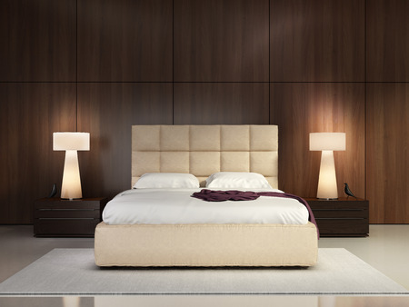 Luxury elegant bedroom with wood wall Stock Photo