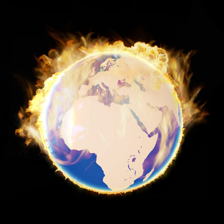 Burning earth after meteorite collision