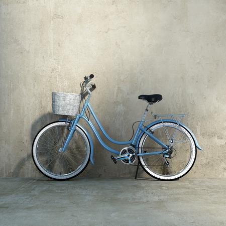 Oude vintage romantische blauwe fiets, door een grungy muur