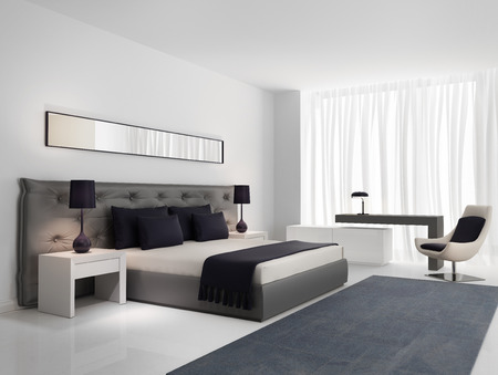 luxury hotel room: Luxury bedroom with grey buttoned bed