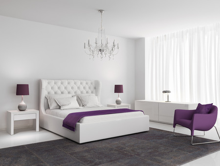 3d bedroom: White luxury bedroom with purple armchair and rug