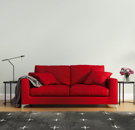Dormitorio de lujo rojo con alfombra contemporánea