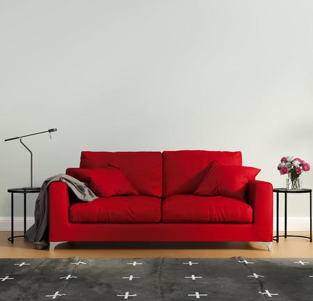 luz roja: Dormitorio de lujo rojo con alfombra contempor�nea