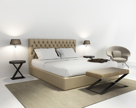 Beige luxury bedroom with contemporary rug Stock Photo