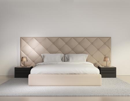 Minimal contemporary buttoned bedroom luxury interior