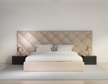 Minimal contemporary buttoned bedroom luxury interior photo