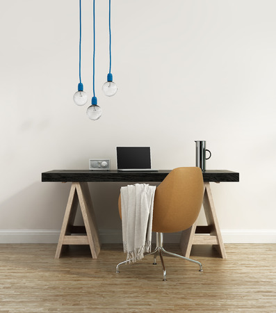 designer chair: Contemporary elegant home office Stock Photo