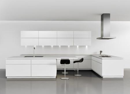 現代の最小限の白いキッチン
