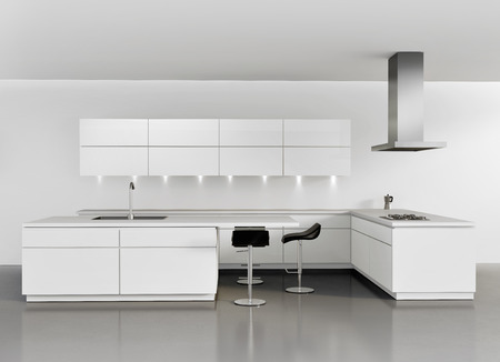 Contemporary minimal white kitchen