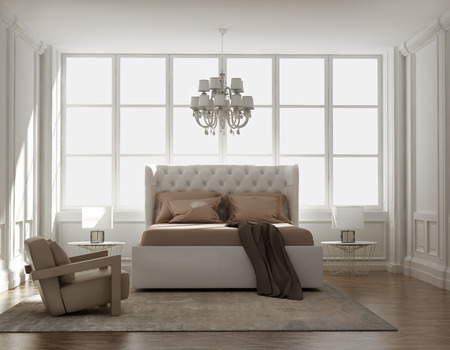 condos: Chic classic elegant luxury bedroom Stock Photo
