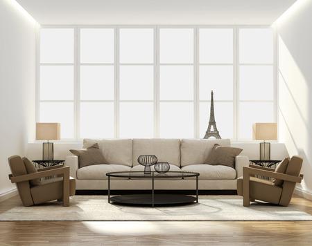 サイド テーブルとエッフェル塔ミニチュア シックな古典的なエレガントな豪華なリビング ルーム