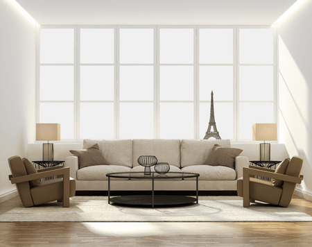 Chic Classic Elegant Luxury Living Room With Side Tables And Eiffel Tower  Miniature Stock Photo