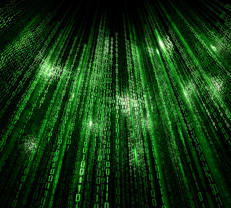 Digital abstract matrix background with the green symbols