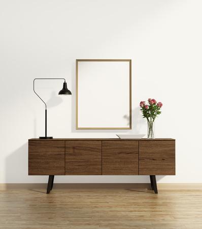 コンソール ・ テーブルな花瓶と木製の床 写真素材