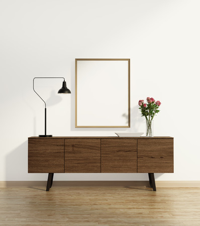 drawers: Console table on wood floor with vase Stock Photo