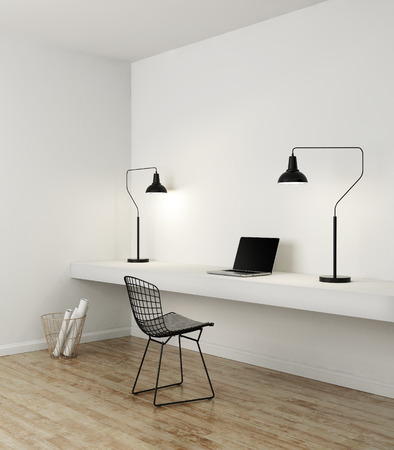 Elegant minimal white home office with black and white detils