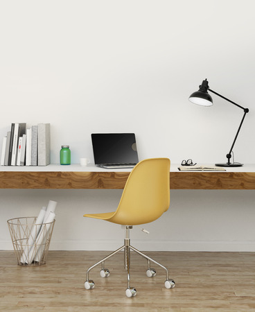 Elegant minimal white home office with yellow chair