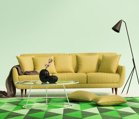 Chic elegant luxury yellow living room Stock Photo