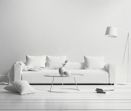 White minimal contemporary interior living room