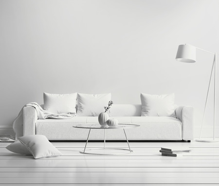 White minimal contemporary interior living room