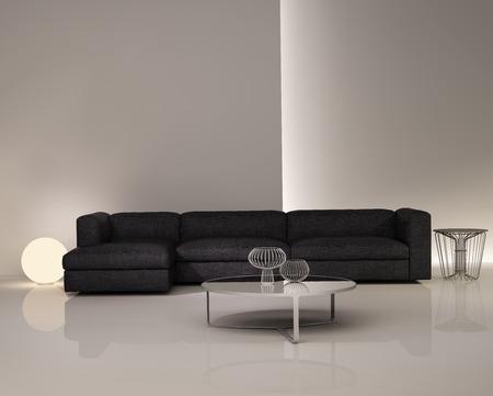 Contemporary elegant luxury dark sofa on white interior Фото со стока
