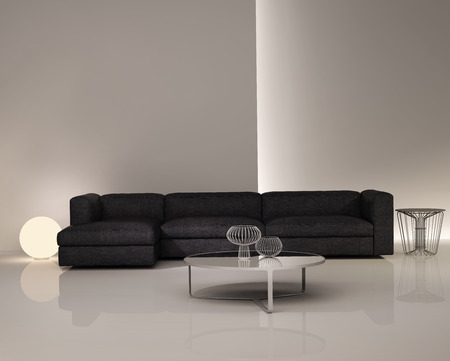 Contemporary elegant luxury dark sofa on white interior Standard-Bild