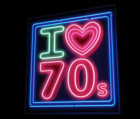 decade: I love th 70s decade neon sign Stock Photo