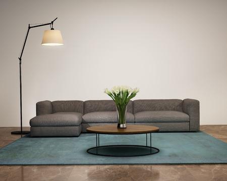 現代的なインテリア、ソファ、リビングの花瓶 写真素材