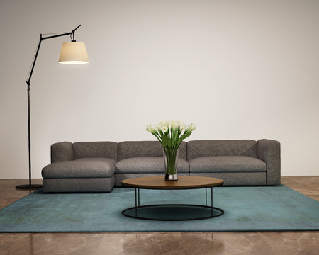 Modern interior with a sofa and a vase in the living room
