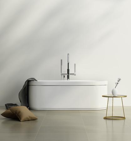 白いバスタブとゴールド サイド テーブル付きモダンなバスルーム