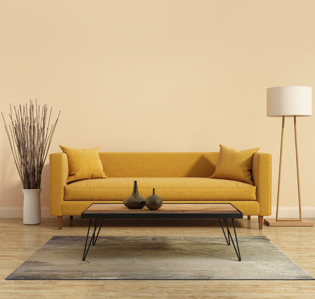 有一個黃色的沙發在客廳現代室內裝飾