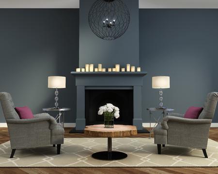エレガントで豪華な現代的なリビング ルーム暖炉付け