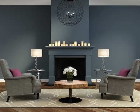 Elegant luxury contemporary living room with fireplace