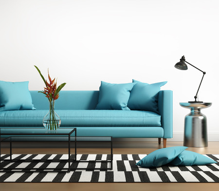 Modern interior with a blue turqoise sofa in the living room 스톡 콘텐츠