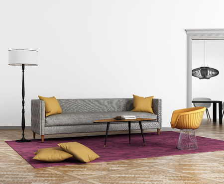 Modern scandinavian style interior with a grey sofa and a violet rug